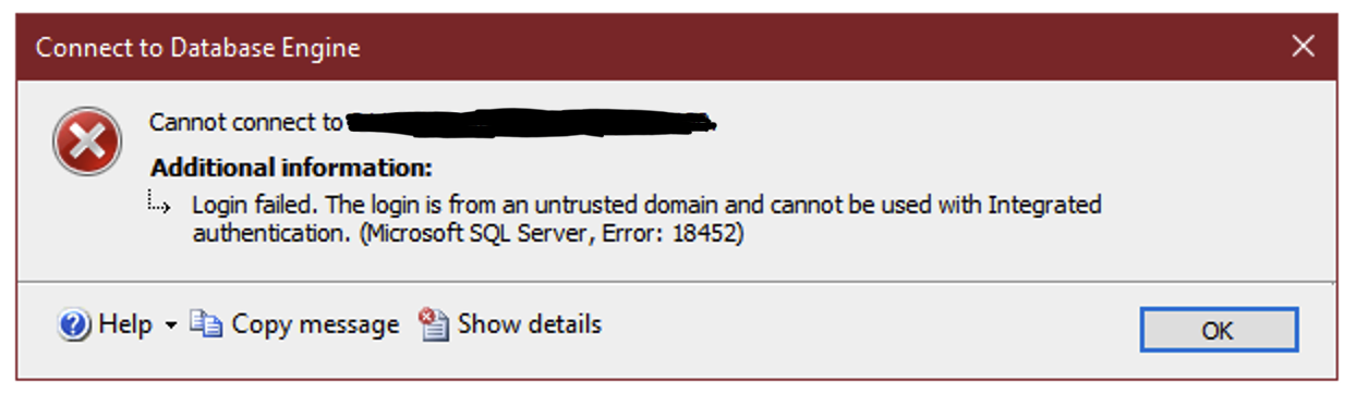 Login failed. The login is from an untrusted domain and cannot be used with Integrated authentication. (Microsoft SQL Server, Error: 18452)